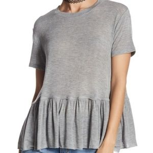 ABOUND GREY PEPLUM OVERSIZED TOP NWT